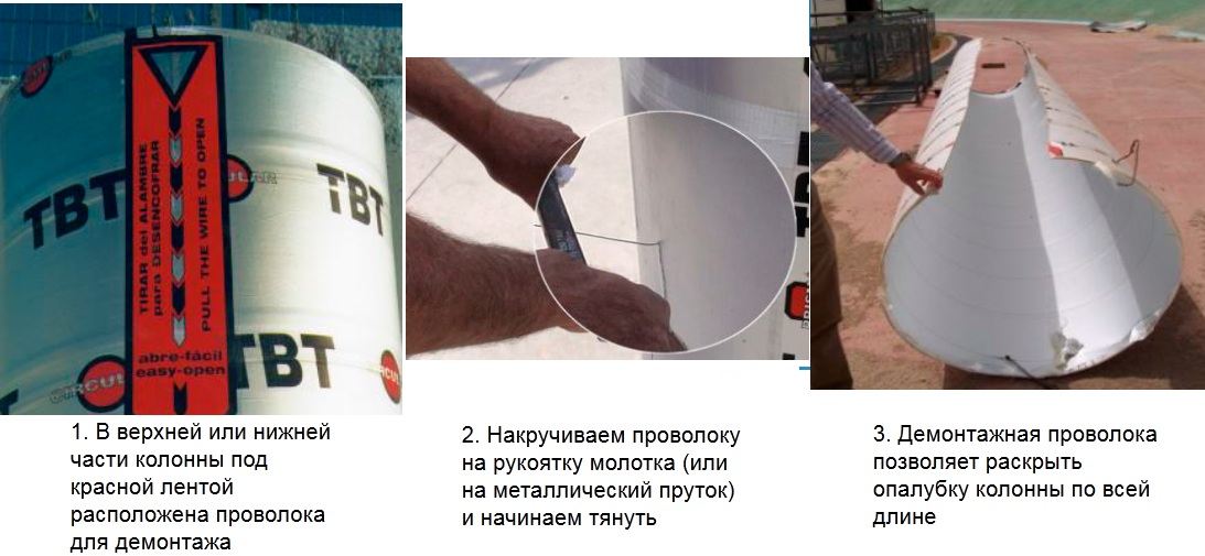 Процесс демонтажа картонной опалубки